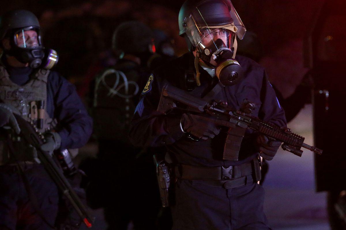 A police officer in Ferguson.