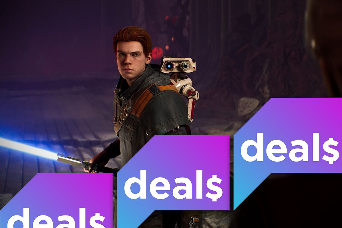 A screenshot from Star Wars Jedi: Fallen Order overlaid with the Polygon Deals logo