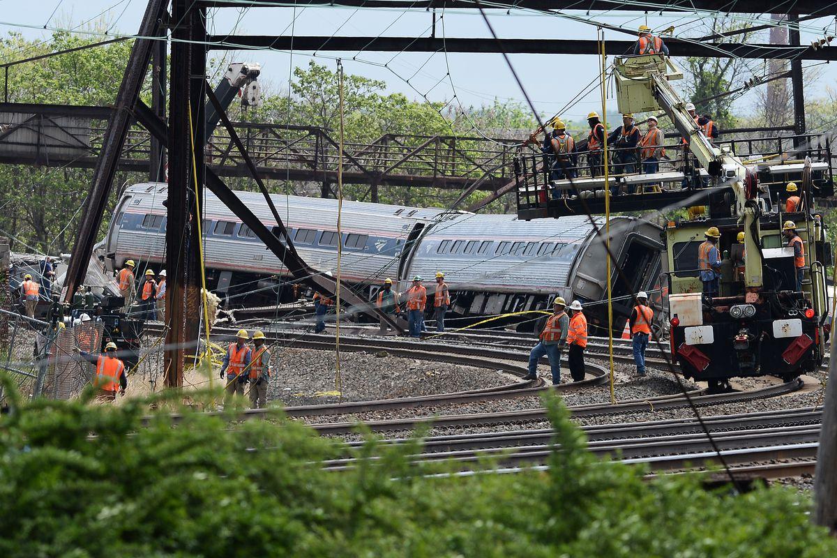 A derailed Amtrak train in Philadelphia on May 13.