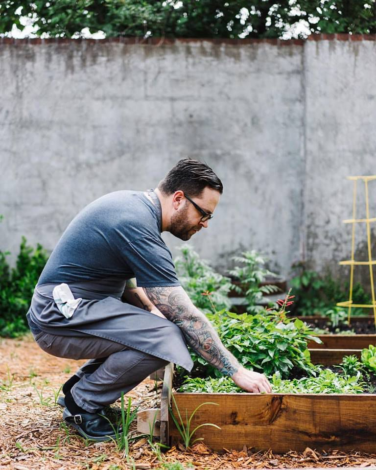 Chef Ryan Smith in the garden at Staplehouse.