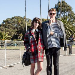Mackenzie Bartram and Joshua Olley; Why we love their looks: Prada creepers! And his casual-cool shoulder-slung jacket