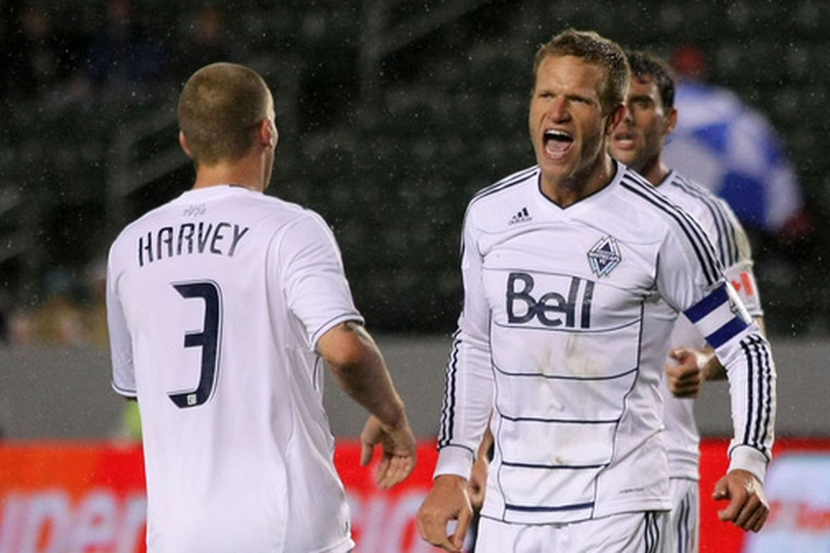 Jay DeMerit celebrates the goal that gave the Whitecaps their first road victory back in 2012