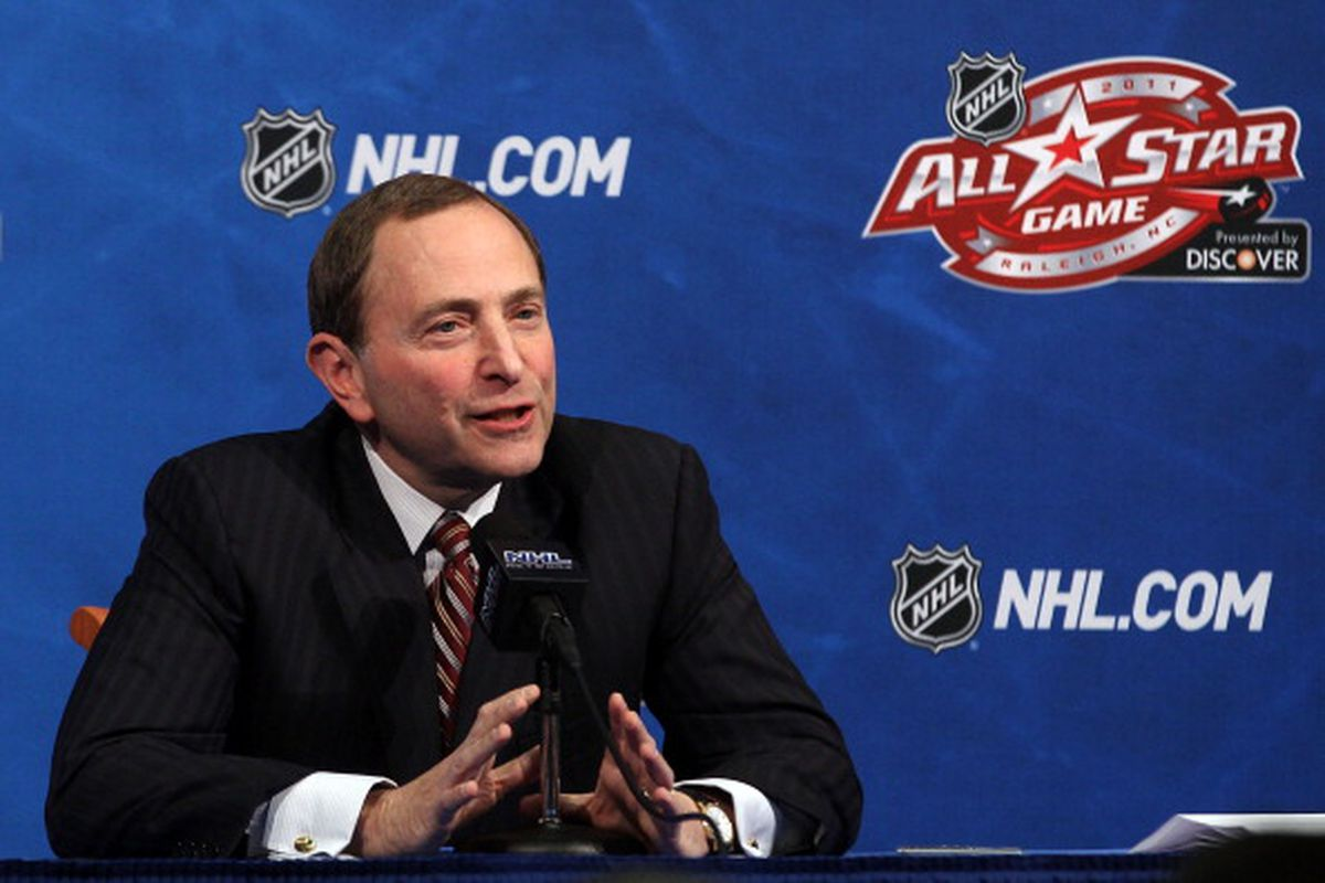 RALEIGH, NC - JANUARY 29: NHL Commissioner Gary Bettman speaks at a press conference during the 2011 NHL All-Star Weekend at the RBC Center on January 29, 2011 in Raleigh, North Carolina. (Photo by Bruce Bennett/Getty Images)