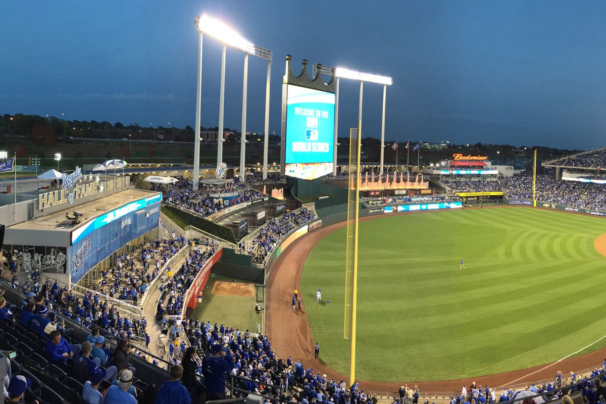 A panorama photo of Kauffman Stadium before the start of Game 2 of baseball's World Series between the San Francisco Giants and the Kansas City Royals in Kansas City, Mo., on Wednesday, Oct. 22, 2014. (Jose Carlos Fajardo/Bay Area News Group)