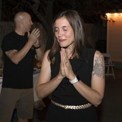 Salt Lake City Councilwoman Erin Mendenhall closes her eyes during her mayoral primary election night event in Salt Lake City on Tuesday, Aug. 13, 2019, as she hears the latest vote tallies showing her clearly in the lead.