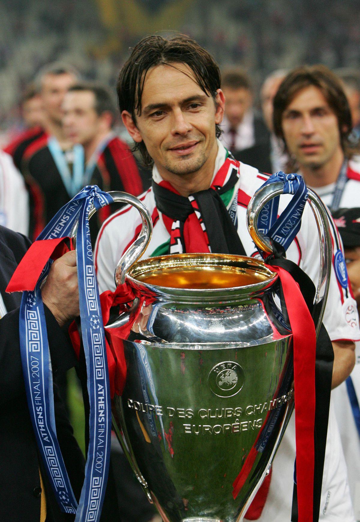 AC Milan's forward Filippo Inzaghi poses...