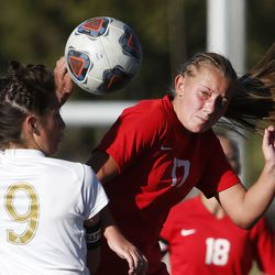 Juba's Josephine Kay (9) and Manti's Breanne Wayman (17) compete in the 3A high school soccer semifinals at Juan Diego Hugh School in Draper on Wednesday, Oct. 21, 2020.