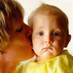Robin Saeva cuddles with 7-month-old son Nicholas, who has aortic valve stenosis.