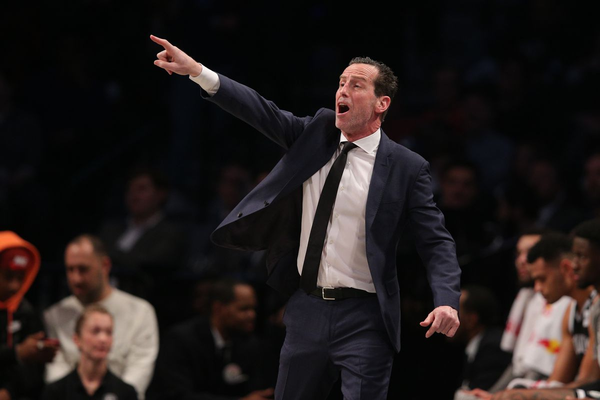 Brooklyn Nets head coach Kenny Atkinson reacts during the second quarter against the Memphis Grizzlies at Barclays Center.