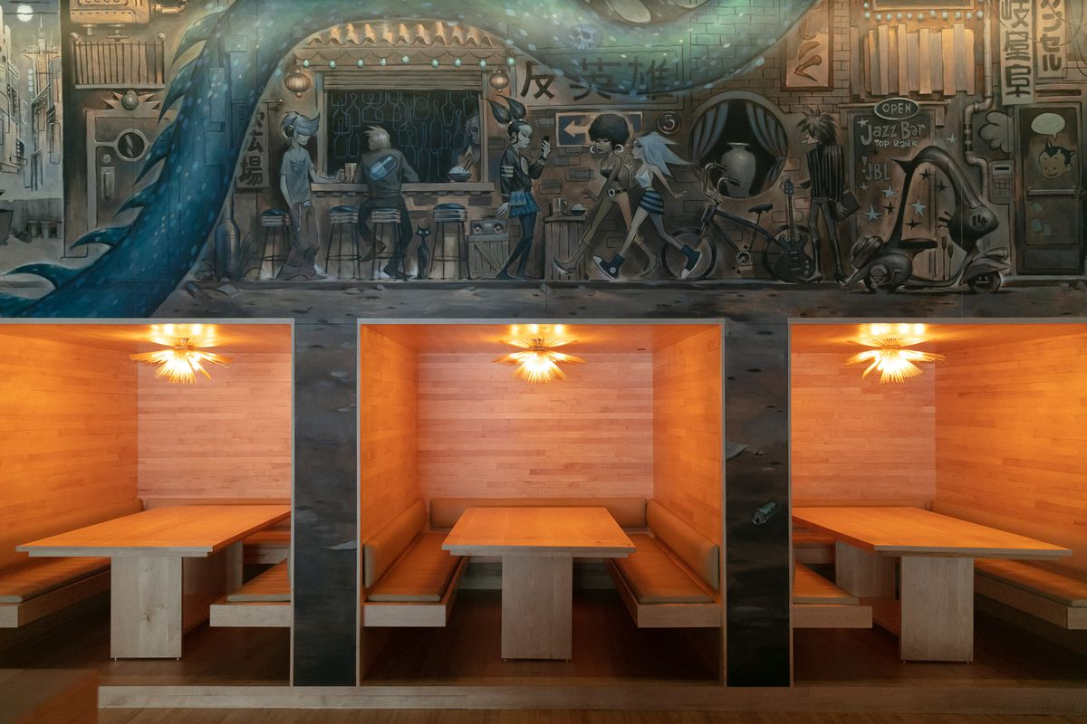 Antihero offered an Japanese izakaya-influenced dining experience with alcove booth seats and dramatic murals.
