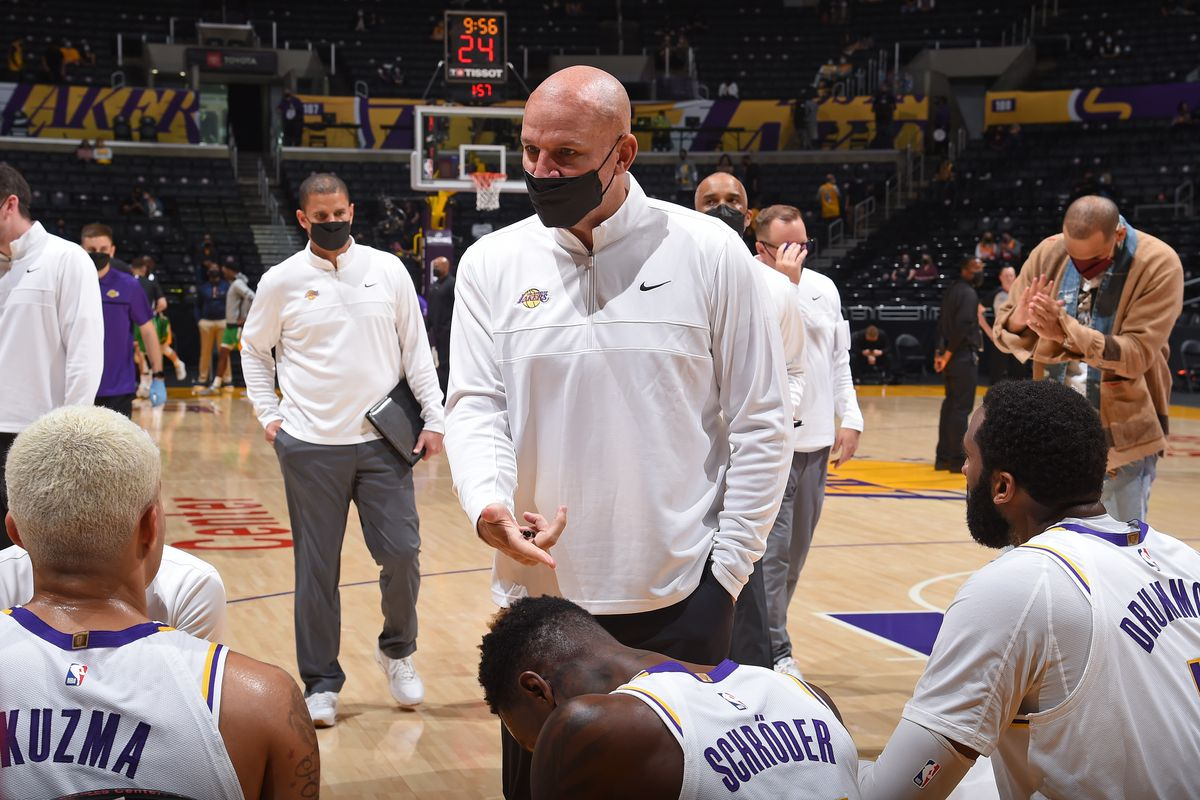 Assistant Coach Jason Kidd of the Los Angeles Lakers coaches against the Utah Jazz on April 17, 2021 at STAPLES Center in Los Angeles, California.