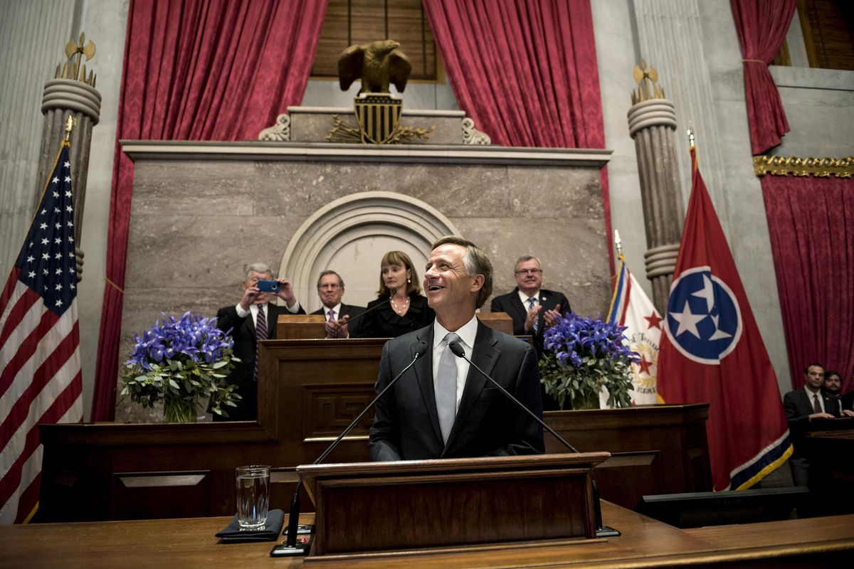 Gov. Bill Haslam prepares to deliver his 2018 State of the State address Monday evening during a joint session of the Tennessee General Assembly in Nashville. It was Haslam's final address to lawmakers and kicked off his last year as governor.