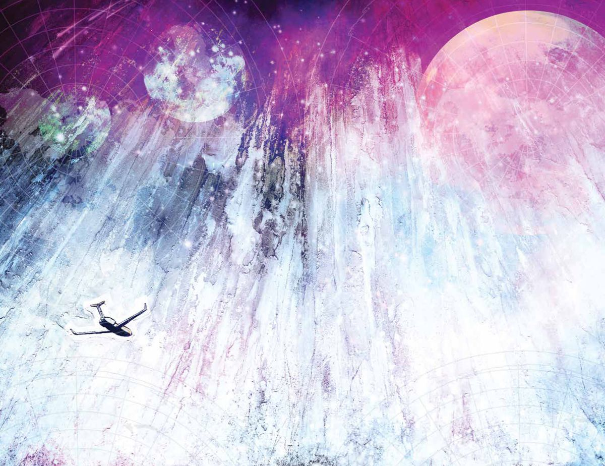 A tiny private plane soars through a vast abstract painted landscape, ringed with latitude and longitude spirals, in The Department of Truth #1, Image Comics (2020).