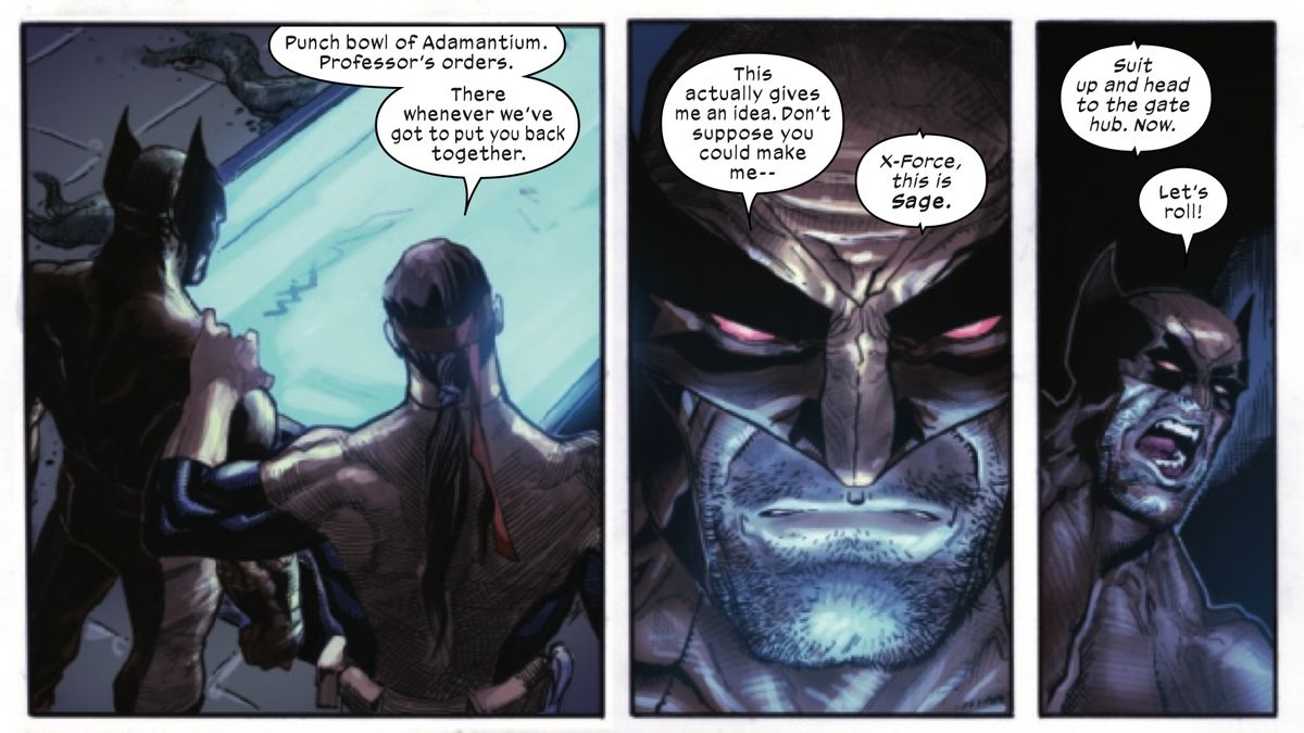 """""""Punch bowl of adamantium. Professor's orders. There whenever we've got to put you back together,"""" says the mutant Forge to Wolverine in X-Force #4, Marvel Comics (2019)."""