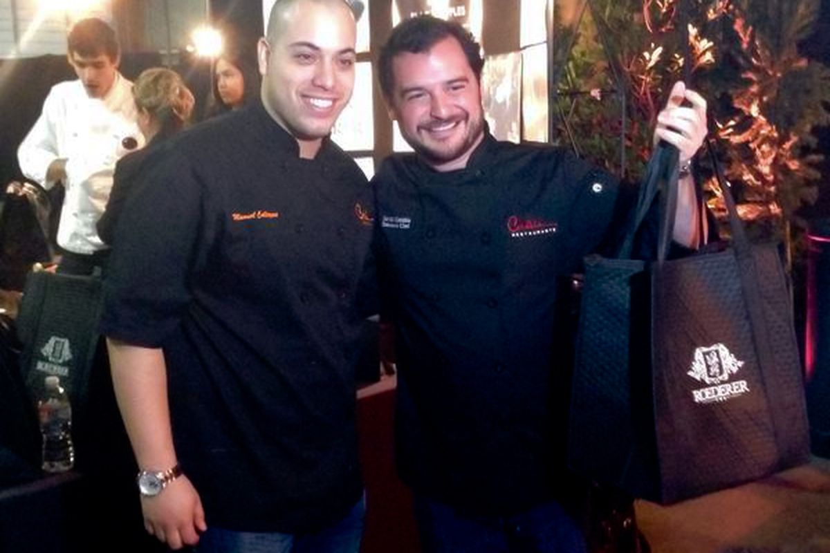 David Cordua (r) is Roederer USA's Houston Truffle Chef of the Year