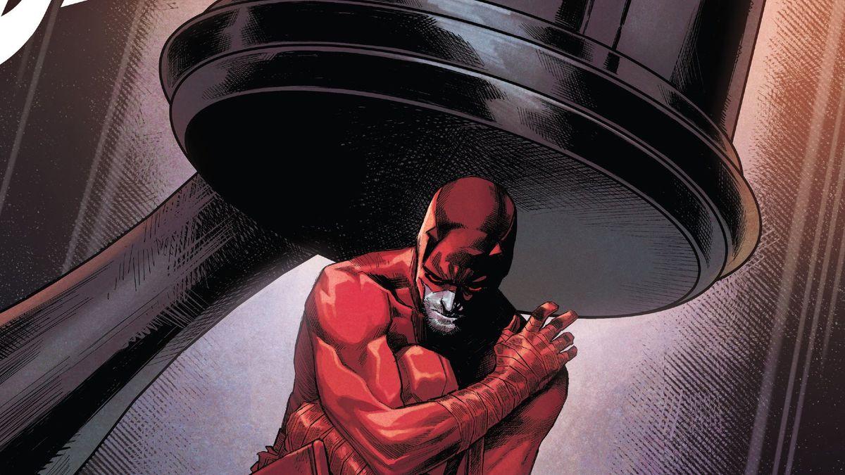 Daredevil kneels underneath a giant judge's gavel on the cover of Daredevil #24, Marvel Comics (2020).