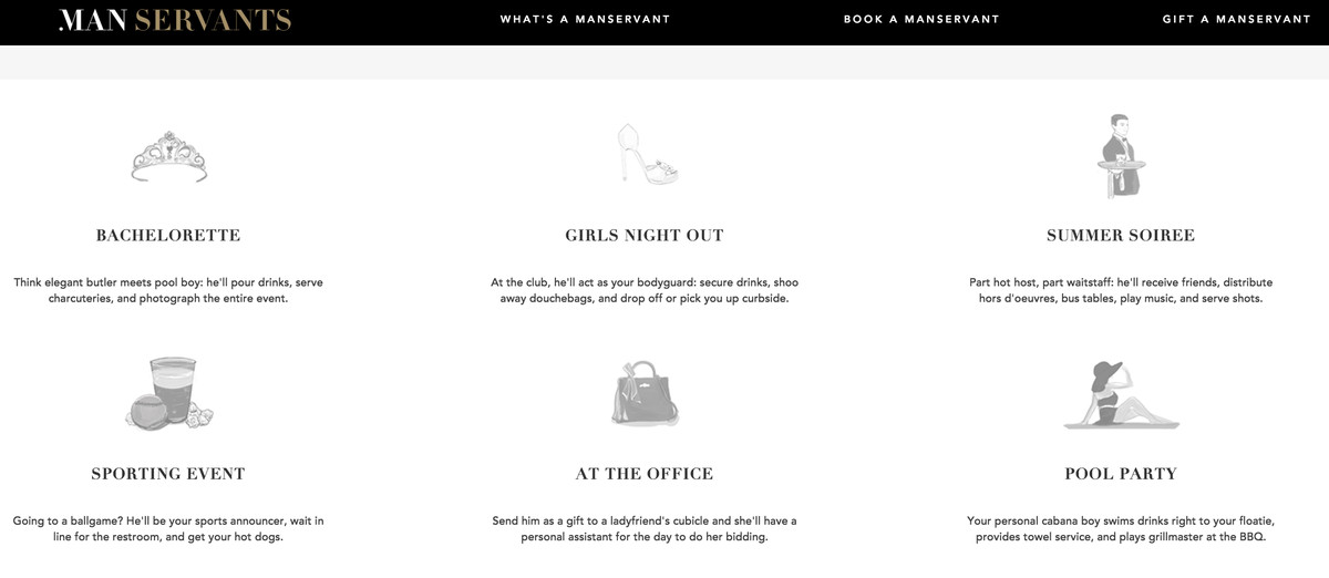 The ManServants website prompts women withevents for which they could book a ManServant.