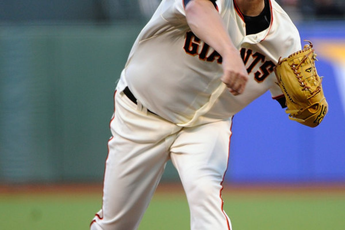 SAN FRANCISCO, CA - MAY 01:  Matt Cain #18 of the San Francisco Giants pitches against the Miami Marlins at AT&T Park on May 1, 2012 in San Francisco, California.  (Photo by Thearon W. Henderson/Getty Images)