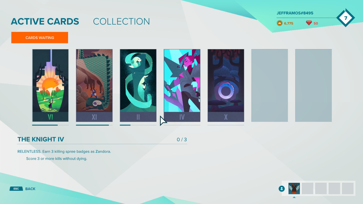 Gigantic's fortune card system