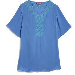 Embroidered tunic in blue, $30, XS-XXL, 1X-3X (plus-size online only)