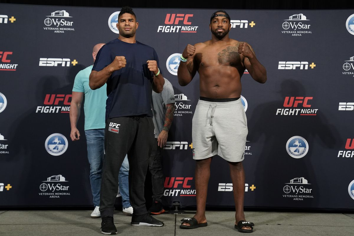 Alistair Overeem and Walt Harris pose for the media during the official UFC Fight Night weigh-in on May 15, 2020 in Jacksonville, Florida.