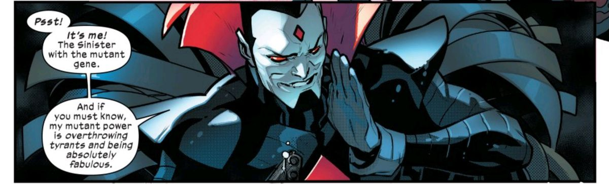 A caped Mister Sinister reassures Magneto and Professor X that he is the main Sinister, the one with a mutant gene, in Powers of X #4, Marvel Comics (2019).
