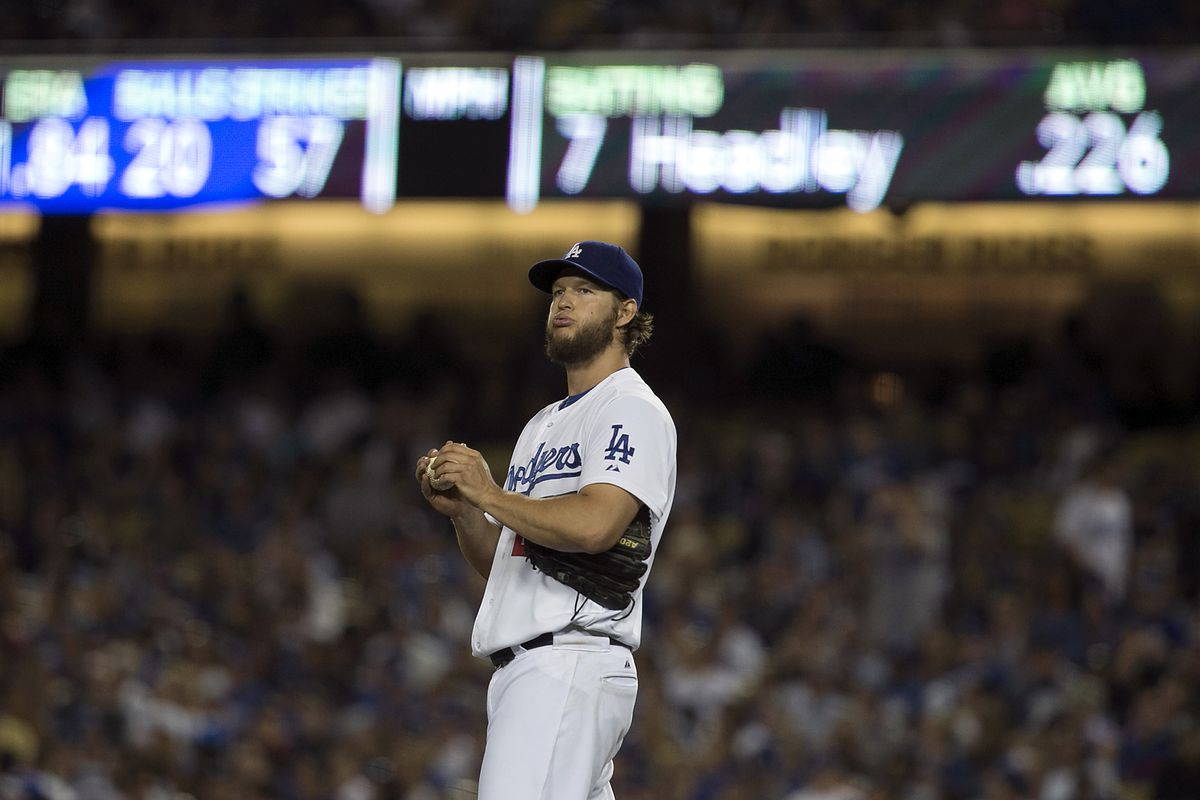 LOS ANGELES, CALIF. - JULY 10, 2014. Dodgers starter Clayton Kershaw reacts after giving up a solo