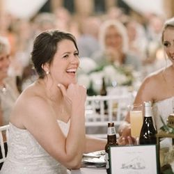 Olympic women's hockey rivals Meghan Duggan (right) of Team USA and Gillian Apps (left) of Team Canada at their September 2018 wedding in Pownal, Maine.