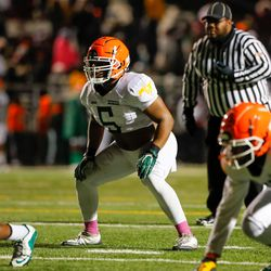 Morgan Park's Noah Malone (5) gets ready for a play against Simeon.