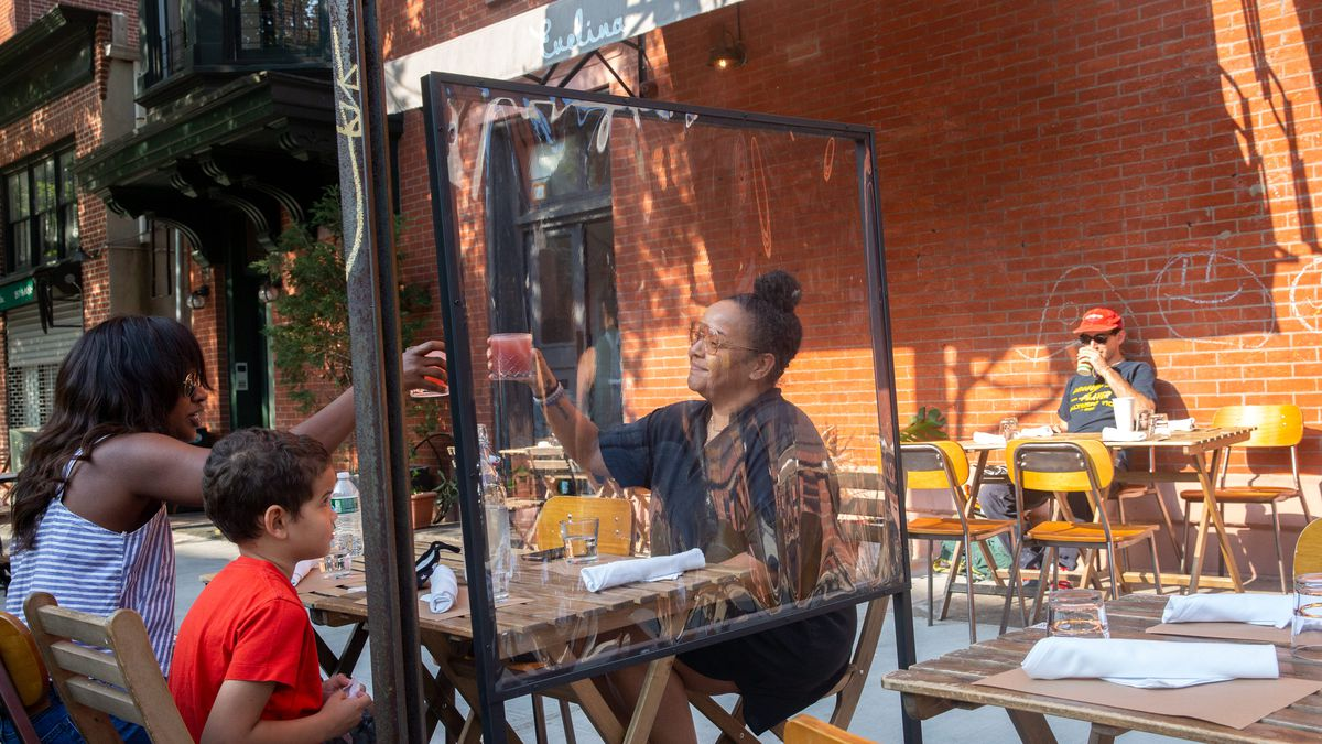 People enjoyed outdoor eating in Fort Greene, Brooklyn after the city started its Phase 2 reopening during the coronavirus outbreak, June 23, 2020.