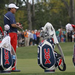 USA's Phil Mickelson looks over the third green during a practice round at the Ryder Cup PGA golf tournament Wednesday, Sept. 26, 2012, at the Medinah Country Club in Medinah, Ill.