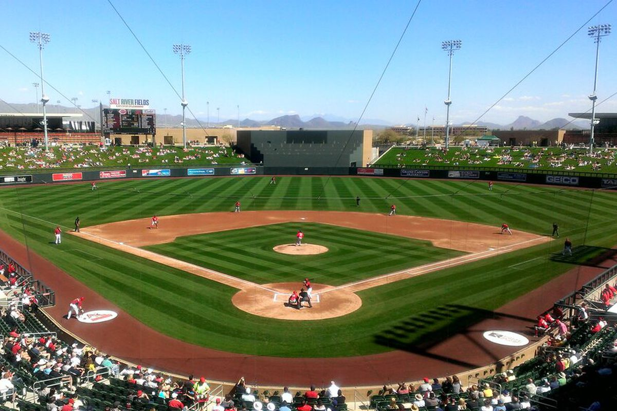 Sunny, 70 & perfect here at @SaltRiverFields with #Dbacks hosting #Reds & @USABaseball working out on back fields!