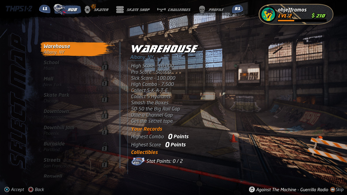 A menu screen in Tony Hawk's Pro Skater 1 and 2