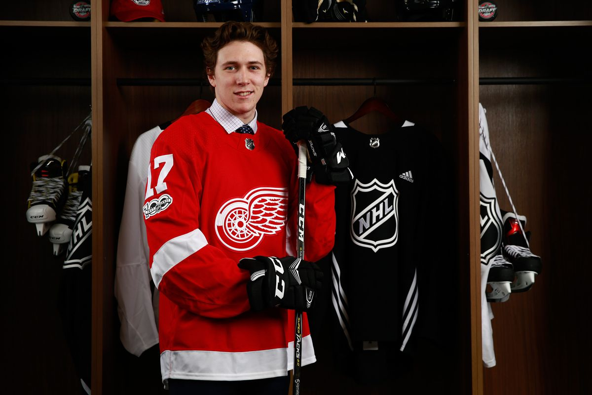 Zach Gallant, 83rd overall pick of the Detroit Red Wings, poses for a portrait during the 2017 NHL Draft at United Center on June 24, 2017 in Chicago, Illinois.