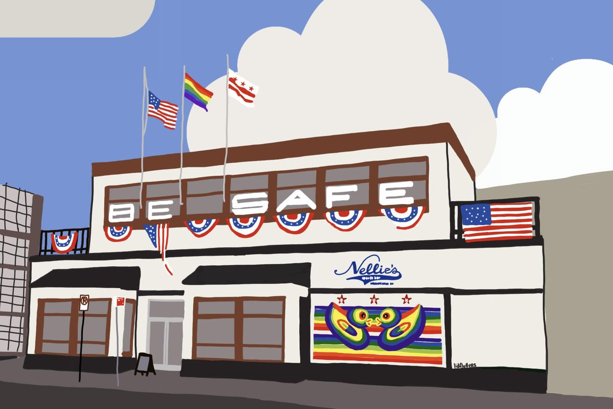 Christine Vineyard's illustration of Nellie's Sports Bar will end up on the wall of the U Street gay bar