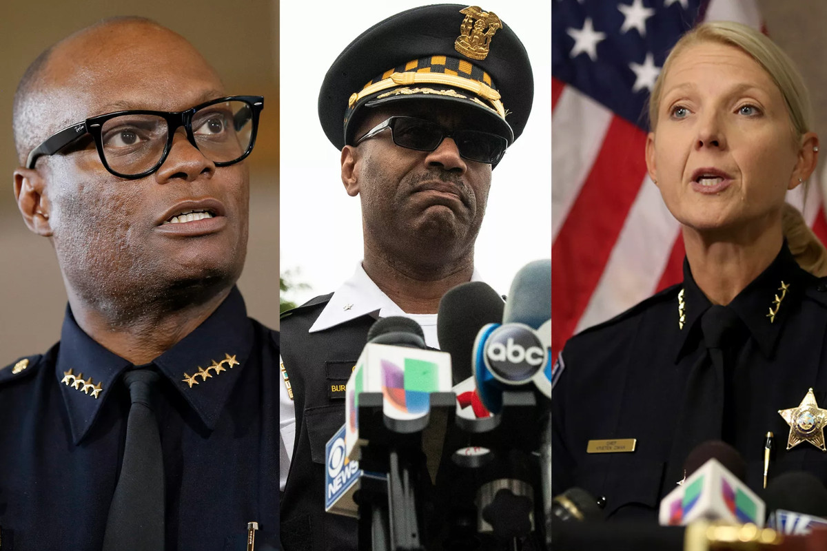 The three finalists for Chicago Police Department superintendent are (from left): Dallas Police Chief David Brown; Chicago Deputy Chief Ernest Cato III; and Aurora Police Chief Kristen Ziman.
