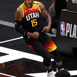 Utah Jazz center Derrick Favors (15) celebrates a dunk as the Utah Jazz and Memphis Grizzlies play Game 2 of their NBA playoffs first round series at Vivint Arena in Salt Lake City on Wednesday, May 26, 2021. Utah won 141-129.