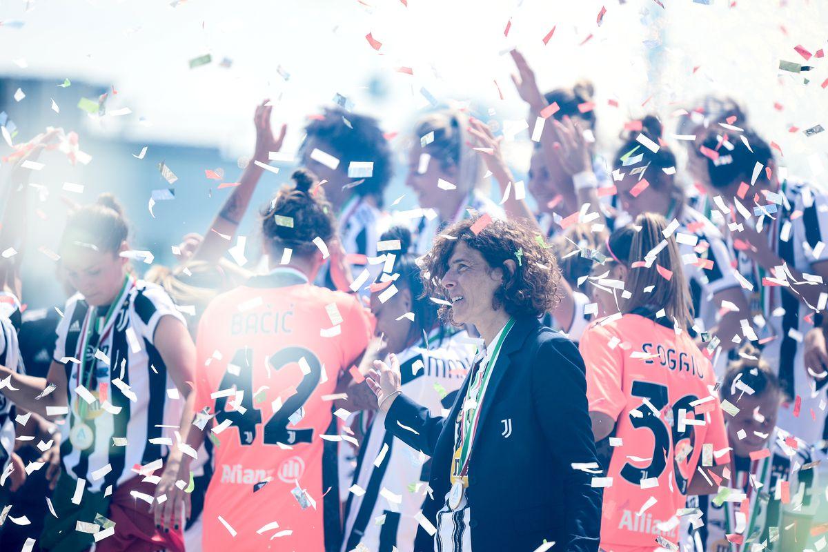 Rita Guarino head coach of Juventus Women after winning the...