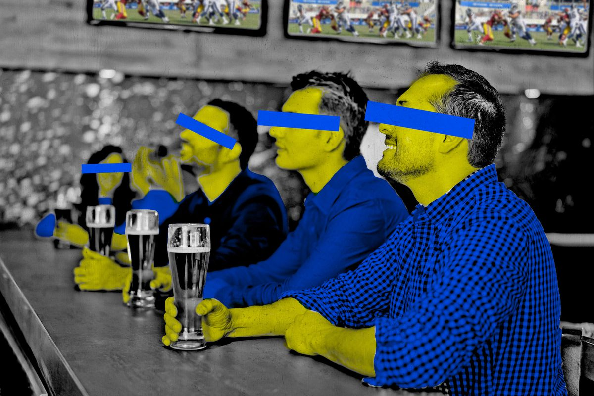 People in a sports bar with censors over their eyes