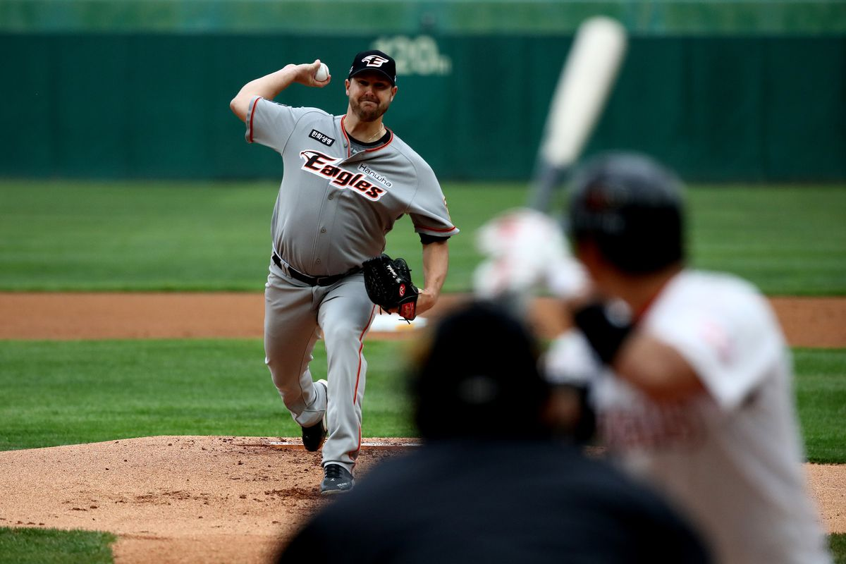 Pitcher Warwick Saupold of Hanwha Eagles throws during the Korean Baseball Organization (KBO) League opening game between SK Wyverns and Hanwha Eagles at the empty SK Happy Dream Ballpark on May 05, 2020 in Incheon, South Korea.