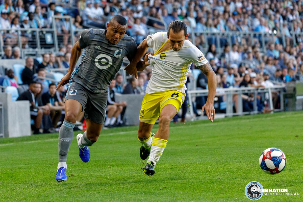 July 10, 2019 - Saint Paul, Minnesota, United States - Minnesota United forward Angelo Rodriguez (9) and New Mexico United midfielder Juan Pablo Guzman (8) battle for the ball during the quarter-final match of the US Open Cup at Allianz Field.