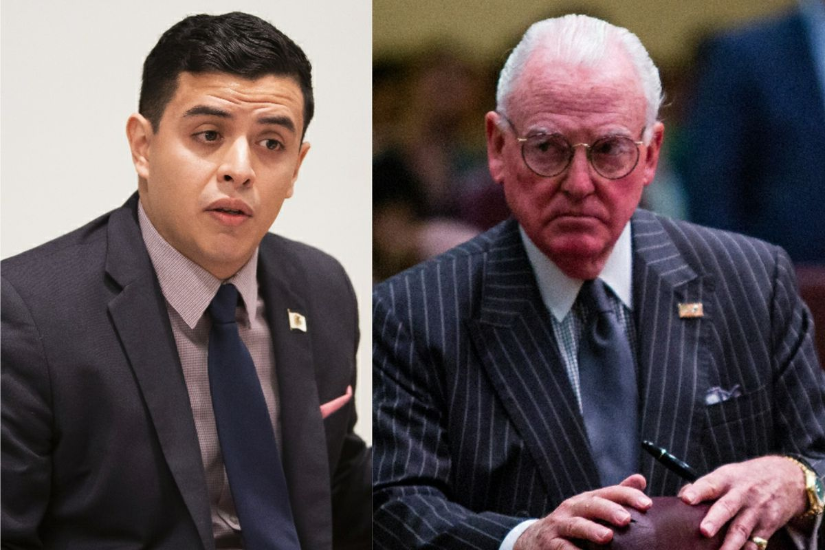 State Rep. Aaron Ortiz, left, in February; Ald. Edward M. Burke (14th), right, in 2016.