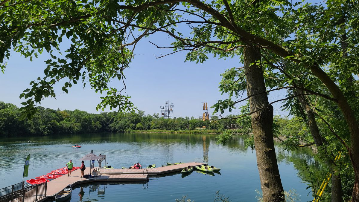 The Forge outdoor adventure park in Lemont features a high ropes course, kayaks, canoes, ziplines and other activities. Photographed on Monday, July 26, 2021.