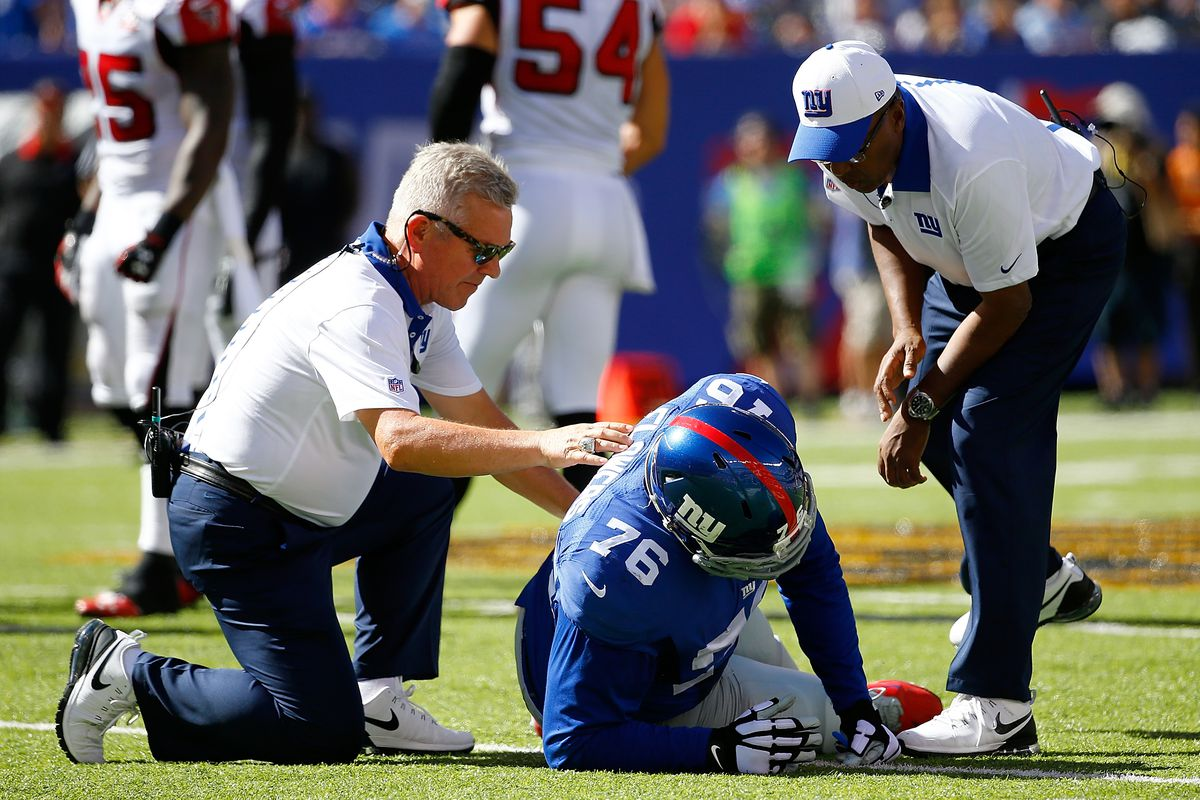 Ereck Flowers after re-injuring his ankle