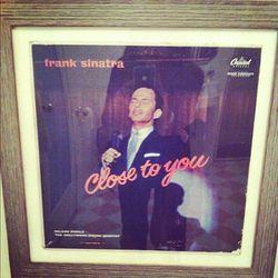Frank Sinatra vinyl lined the restrooms