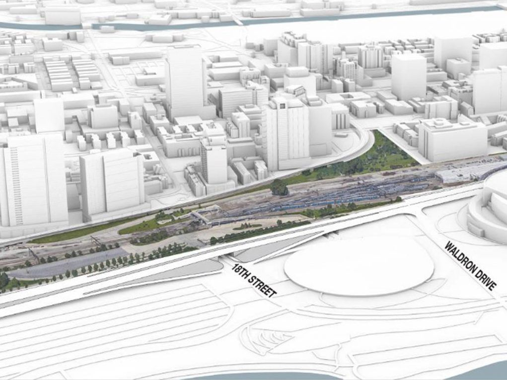 The site where the mega-project One Central would go is now occupied mostly by rail tracks. The developer proposes decking over the tracks and building above, saying the project would better link the Museum Campus to the city.   Landmark Development rende