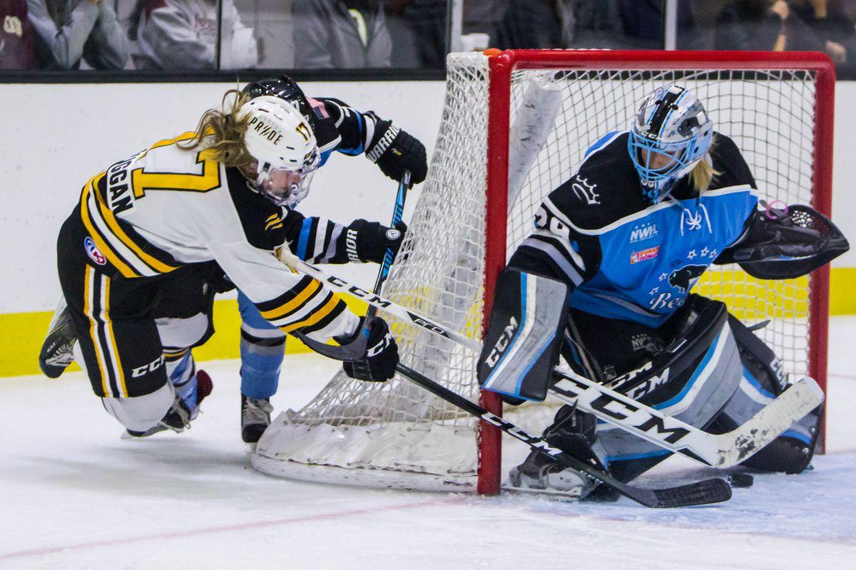 Buffalo's Brianne McLaughlin shuts the door on a shot attempt from Boston's Meghan Duggan.