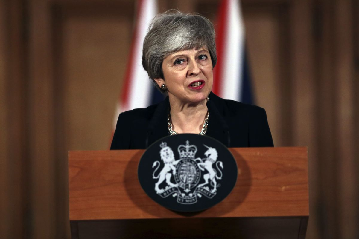 Britain's Prime Minister Theresa May gives a press conference outside Downing Street, in London, Tuesday, April 2, 2019.