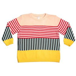 """ALL Knitwear sweater, <a href=""""http://ingodwetrustnyc.com/collections/womens/products/annie-larson-box-top-sweater-yellow-coney-stripe"""">$348</a> at In God We Trust"""