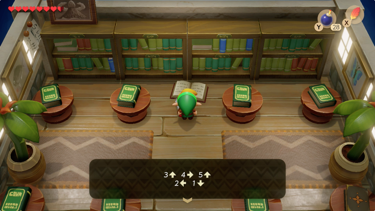 Link's Awakening Mabe Village library puzzle solution for the Color Dungeon entrance